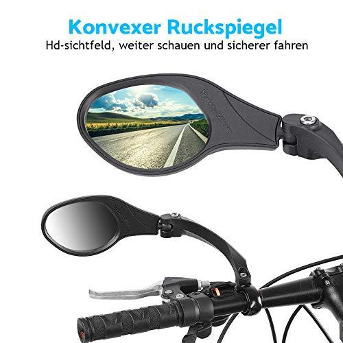 Dilwe Fahrrad Rückspiegel für Lenker, Edelstahl Fahrradspiegel, verstellbar, 360° Drehungsüberprüfung, Rückspiegel für 22,2 mm Rennrad Mountainbike, Links, rechts - 7