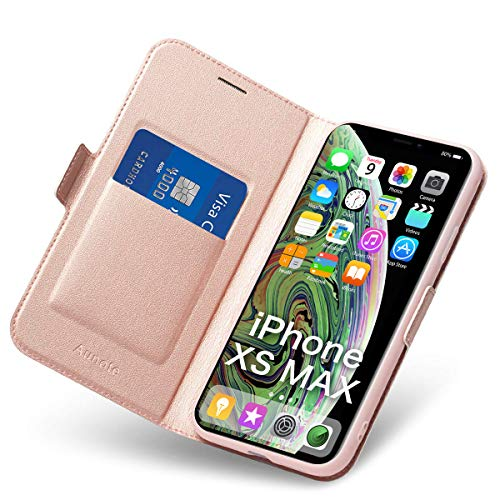 Cover per iPhone XS Max, Flip Custodia Pelle, PU + TPU Silicone Morbida Antiurto - Completa Protezione. Custodie per Cellulari - Portafoglio Folio con Funzione Supporto e Chiusura Magnetica (Oro Rosa)