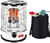 SEYE Calentador de Estufa de Queroseno de 6 litros, Calentador de Aceite portátil de Acero Inoxidable, Quemador de Vidrio para Patio al Aire Libre, Interior, Camping (Blanco)
