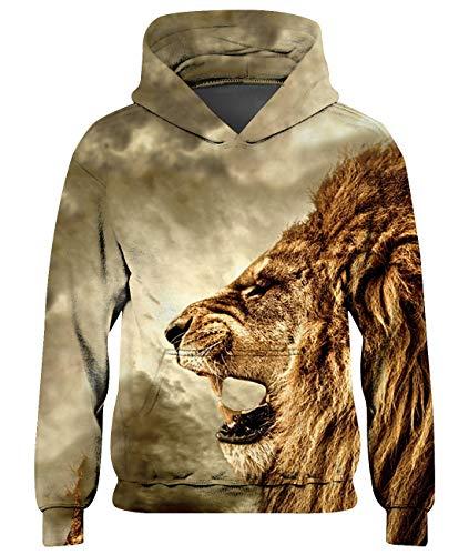 Goodstoworld Lion 3D Hoodie Teenager Mädchen Jungen Pullover Coole Druck Lange Ärmel Kapuzenpullover Kapuzensweatshirt Lowe 8-11 Jahre