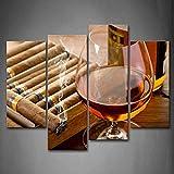 Brown Liquore In Tazza Con Sigaro Wall Art Pittura Immagini Stampa Su Tela Cibo L'immagine Per La Casa Decorazione Moderna