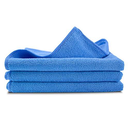 lunar. premium cleaning 3 Stück Microfasertücher KFZ Poliertücher Weich 40x40cm blau 300 GSM Reinigungstücher Präsentbox zur professionellen Autopflege Hausreinigung