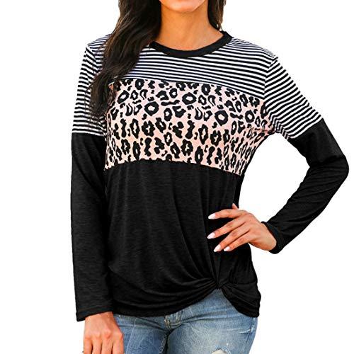 T-Shirt Damen Casual Mode Gestreifte Leoparden Nähte Shirt Tops Frühling und Herbst...
