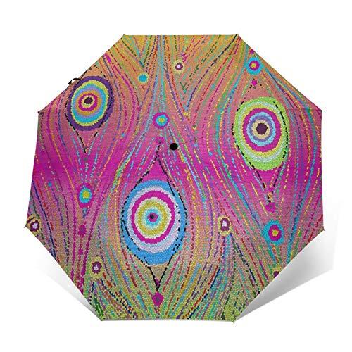 Paraguas automático de triple pliegue colorida abstracta cola de pavo real, impermeable, protector solar resistente al viento, plegable, paraguas para hombre y mujer al aire libre