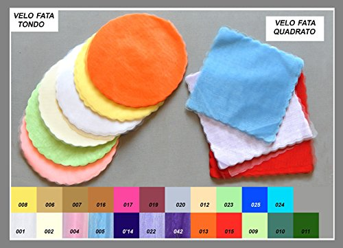 Confezione 150 pezzi vello di fata , tulle, TONDO , 'FAI DA TE'. Per confezionamento confetti e bomboniere. diametro 23cm. (fcvf) (bianco 001)
