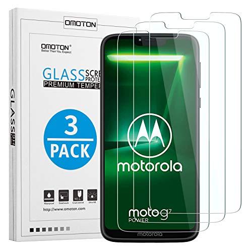 OMOTON [3 Pezzi Compatibile con Moto G7 Power Pellicola Protettiva in Vetro Temperato - Bordi Arrotondati 2.5D - Durezza 9H - Senza Bolle - Anti-Graffi