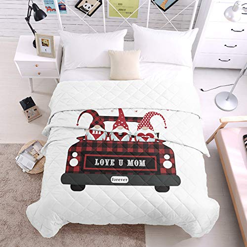 """Lightweight Down Alternative Reversible Bed Comforters Qulits Super Soft Air Conditioning Summer Duvet Insert Quilted Blanket Love You Mom World's Best Mother Cute Gnomes with Car 98"""" X 98"""""""
