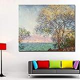 SADHAF Monet pintura al óleo arte cartel mar país paisaje pared impresión lienzo decoración de la habitación lienzo mural decoración A2 40x50 cm