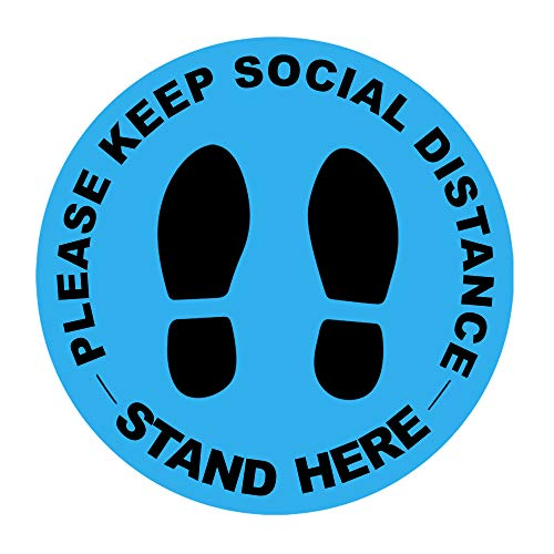 """20 pcs Blue 8"""" Social Distancing Floor Decals Sticker Signs – Vinyl Public Control Guidance Stand Here   Covid Safety Supplies for Business and Hospital- Waterproof, Round, Anti Slip and Removable"""
