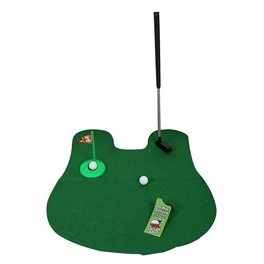 Domybest Funny Toilet Bathroom Mini Golf Mat Potty Putter Putting Game Novelty Gift