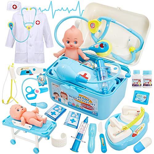 Buyger Maletin Medicos Juguetes Botiquin Doctora Disfraz con Cama Muñeca Set Enfermera Juguetes para Niños Niñas 3 4 5 6 Años (Azul)