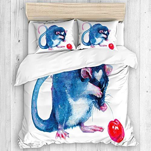 Minalo Parure de lit,Rat Bleu et Cerise sur Papier Blanc,1 Housse de Couette 240x260 + 2 Taies d'Oreillers
