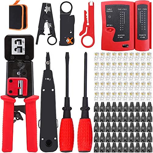 Lubein - Kit de red profesional 13 en 1, crimpadora rj45, comprobador de red de LAN, comprobador de cables de red, kit de red, apto para bricolaje, casa o fábrica (rojo)