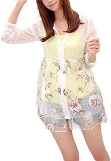 Mogogo Women's Hoode Zipper Sunscreen Light Weight Summer Denim Jacket