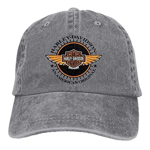Mens Vintage Adjustable Dad-Hat Customized Harley Davidson Fashion Baseball Cap Hat, Gray Sombreros y Gorras