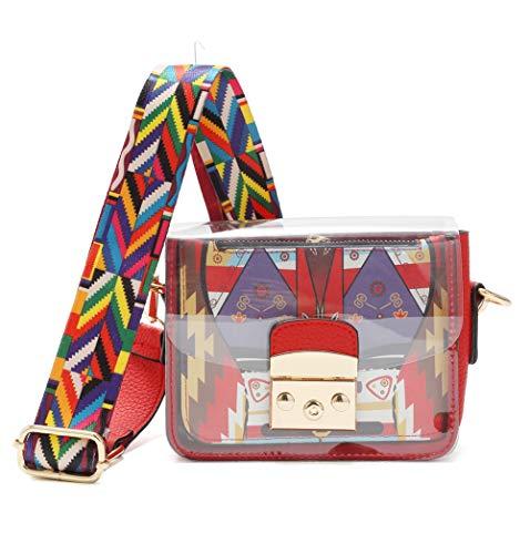 Umhängetasche für Damen, transparent, Messenger-Tasche, verstellbarer Schulterriemen, Rot (rot), Small