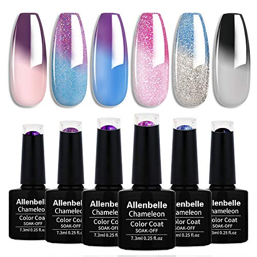 Allenbelle Smalto Semipermanente Camaleonte Nail Polish UV LED Gel Unghie (Kit di 6 pcs 7.3ML/pc) (001)