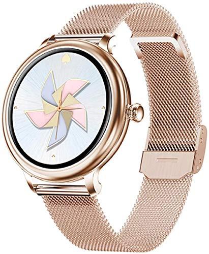 TYX-SS Reloj Inteligente para Mujer, Modos multideportivos, monitorización de la presión Arterial del Ritmo cardíaco para Android iOS IP68, Reloj Inteligente Impermeable para Mujer-Malla de Oro Rosa