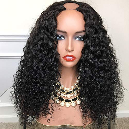 """RuiYu 130% Density Curly Human Hair Wigs Brazilian Remy U Part Human Hair Wigs For Women 1x4""""Opening Half Curly Wig Natural Color (12inch)"""