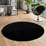 Aloha–Alfombra Shaggy de pelo largo redondade color negro y 4 tamaños disponibles, polipropileno, negro, 120 cm Rond