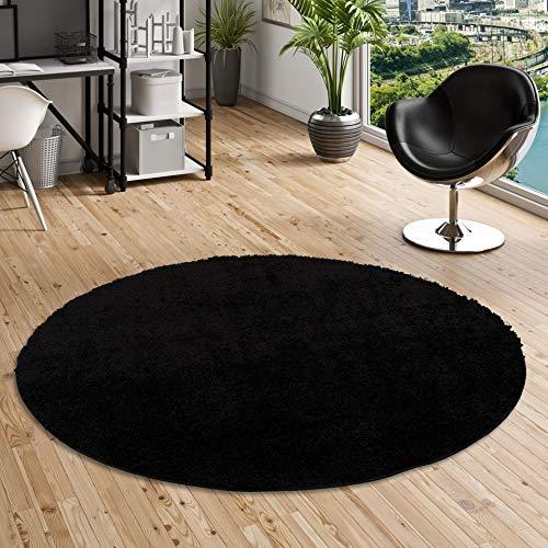 Aloha–Alfombra Shaggy de pelo largo redondade color negro y 4 tamaños disponibles, polipropileno, negro, 80 cm Rond