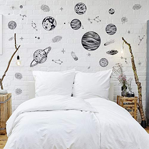 Creative Space Planet Sketch Removable Wall Sticker Bedroom Living Room TV Sofa Study Wall Decorative PVC Sticker