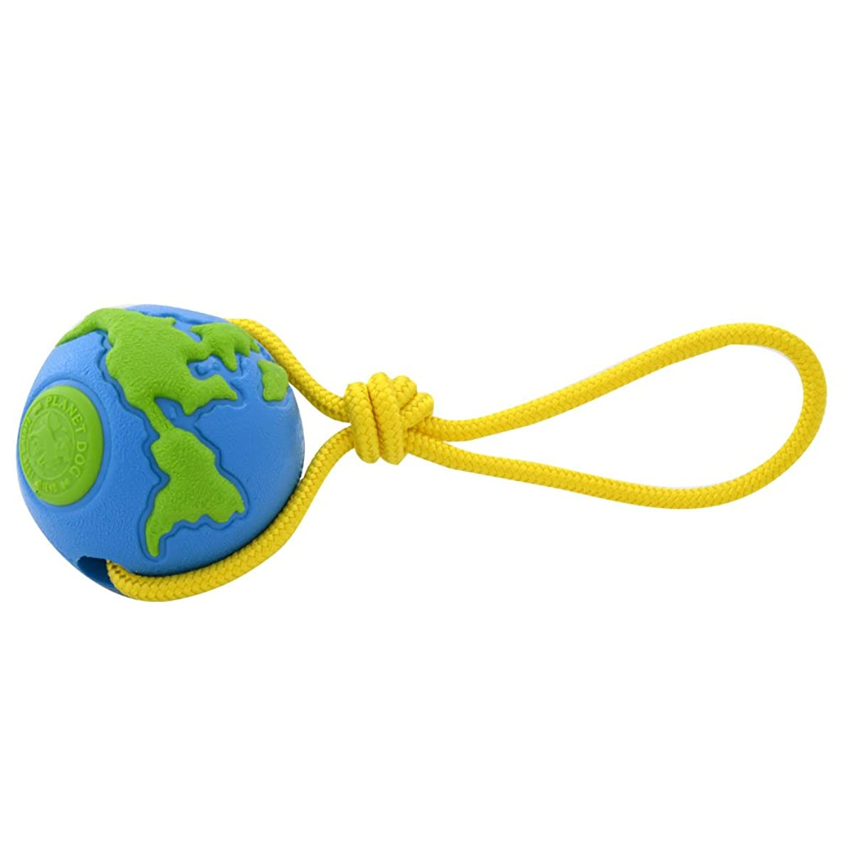 Planet Dog Orbee Ball, Planet Ball Rope Interactive Durable Chew-Fetch-Tug Dog Toy, Floats, Made in The USA, Blue Green