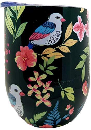 Love Birds (Brew) von Happy Earth (350 ml, doppelwandiger Edelstahl, vakuumisolierter Reisebecher mit spritzwassergeschütztem Deckel, BPA-frei)