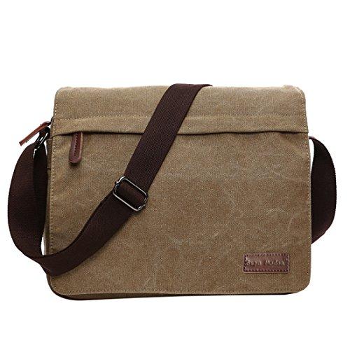 Super moderno tela Messenger Bag borsa a tracolla Laptop Bag computer bag satchel bag Bookbag scuola borsa lavoro borsa crossbody borsa per uomini e donne, Uomo, Khaki Large