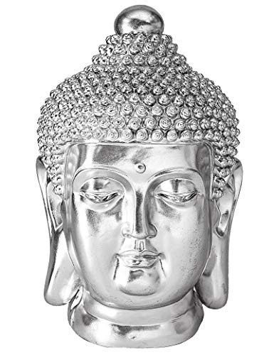 NRMEI Large Size Buddha Head Statue Meditating Shakyamuni Bust Sculpture Housewarming Gift from Asian Zen Blessing Ornament Chinese Feng Shui Idea Modern Tibetan Style(24' H Silver)
