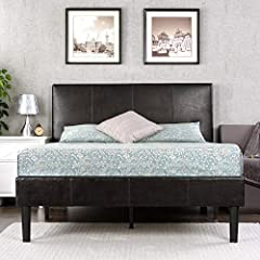 TALL, DARK & HANDSOME - Make an impression without screaming for attention with this edgy, modern platform bed design. A striking deep espresso faux leather upholstery and padded headboard with vertical stitching pull together your room with sophisti...