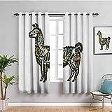 SONGDAYONE Llama para exteriores patrón de cortina con animales sudamericanos y cactus de guanaco dibujados a mano elementos infantiles, uso repetible, multicolor, poliéster, Color06, W63 x L45 Inch