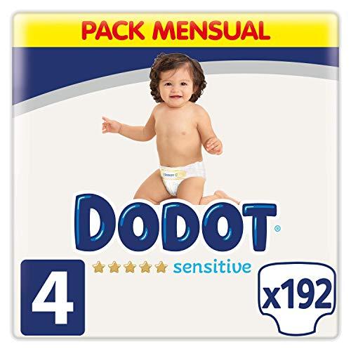 Dodot Pañales Bebé Sensitive Talla 4 (9-14 kg), 192 Pañales, Óptima Protección de la Piel de Dodot, Pack Mensual