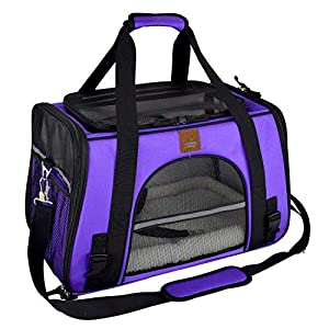 Purrpy Airline Approved Pet Carrier, Soft Sided Collapsible Pet Travel Carrier for Medium Cats and Small Dogs,Portable Pet Travel Carrier