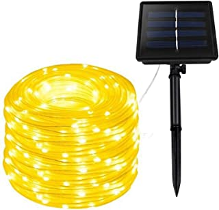XUNATA Solar String Lights, 23FT Solar Rope Lights, 8 Modes 50 LED Outdoor Lighting Rope, Waterproof Copper Wire Rope Stri...