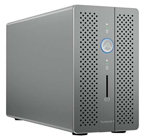AKiTiO Thunder3 RAID Station für 2x 2,5 Zoll/3,5 Zoll HDD/SSD, RAID 0/1/Single/Large, 2x Thunderbolt 3, 2x USB 3.0, Gigabit-LAN, 1x DisplayPort