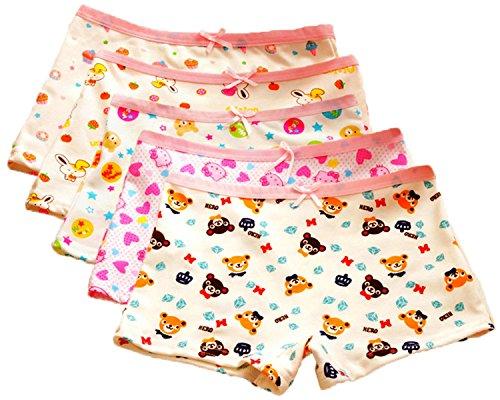 FAIRYRAIN FAIRYRAIN 4 Packung Baby Kleinkind Mädchen Cartoon Bär Pantys Hipster Shorts Spitze Baumwollunterhosen Unterwäsche