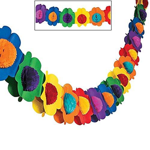Fun Express Multicolor Tissue Flower Garland Novelty (2-Pack)