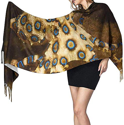 Bufanda de cachemir con estampado de pulpo y anillo azul para mujer, bufanda cálida informal para mujer, chal grande