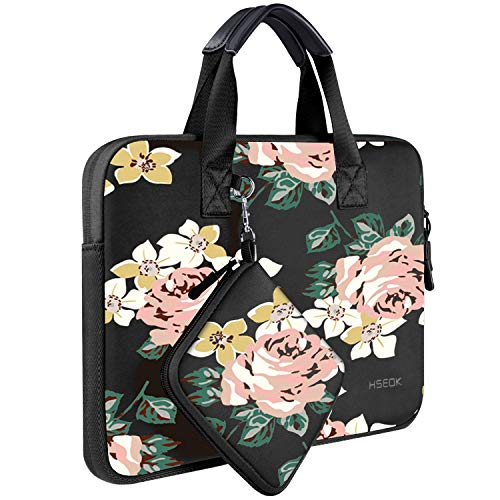 Laptop Sleeve 13 13.3 13.5 Inch Case for MacBook Air Pro 13'-13.3', Surface Laptop 13.5', Water Repellent Elastic Neoprene Notebooks Hand Bag with Handle and Small Case, Dark Rose