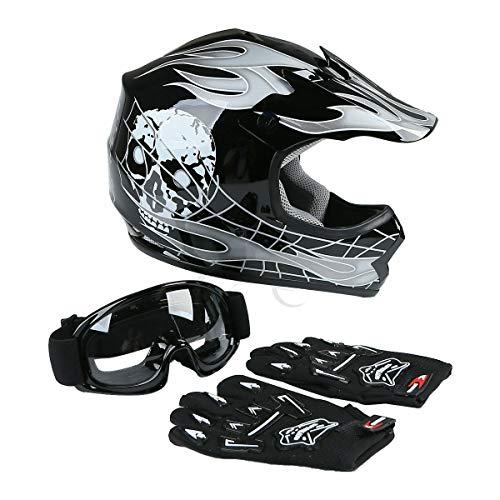 TCT-MT Skull Helmet w/Goggles+Gloves DOT Youth Kids Helmet Safty Motocross ATV Dirt Bike Helmets X-Large