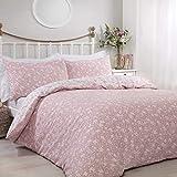 Sleepdown 5056242746546 Ditsy-Juego edredón Reversible con Fundas de Almohada (220 x 260 cm), diseño Floral, Color Rosa, Mezcla de algodón, Matrimonio Grande