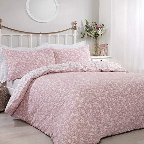 Sleepdown Ditsy Floral Blush Reversible Easy Care Duvet Cover Quilt Bedding Set with Pillowcase - Double (200cm x 200cm)