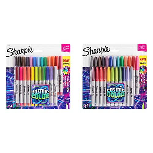 Sharpie Permanent Markers, Ultra Fine Point, Cosmic Color, Limited Edition, 24 Count & Permanent Markers, Fine Point, CosMic Color, Limited Edition, 24 Count