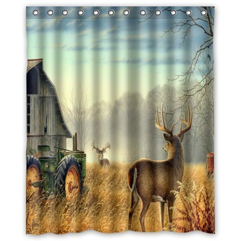 "abigai Cool Old Tractor and Cute Deer Waterproof Fabric Polyester Bath Curtain Bathroom Decor Shower Curtain72(w) x 72""(h)"
