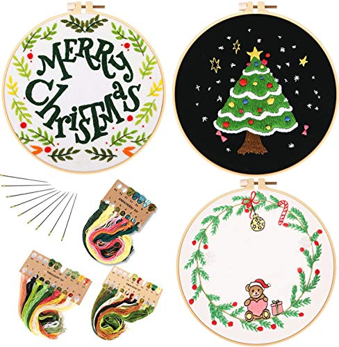 3 Pack Embroidery Starter Kit with Christmas Pattern and Instructions, Cross Stitch Kit Include 3 Embroidery Pattern, Embroidery Hoops, Color Threads and Tools