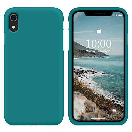 SURPHY Cover Compatibile con iPhone XR, Custodia per iPhone XR Silicone Cover Antiurto con Fodera in Microfibra, Anti-Graffio Full Body Protettiva Case per iPhone XR 6.1 Pollici (2018), Teal Blue