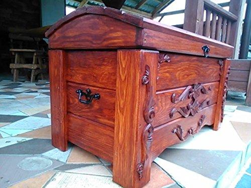 DECOCRAFT Boîte à couverture en bois pour table basse ou coffre vintage en bois Ottoman (ER2)