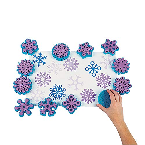 FANTASTIC FOAM SNOWFLAKE STAMPS - DZ - Stationery - 12 Pieces