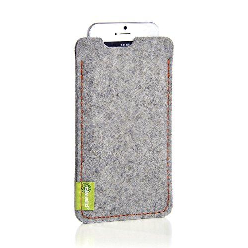 """Almwild® Hülle Tasche für Apple iPhone X/Xs MIT Apple Leder Hülle/Silikon Hülle. Modell """"Dezenzi"""" in Alpstein- Grau,Schwarz aus Natur-Filz. Handyhülle Handytasche in Bayern handgefertigt"""